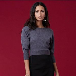 Dvf 3/4 sleeve Crewneck Wool Crop Top Sweater